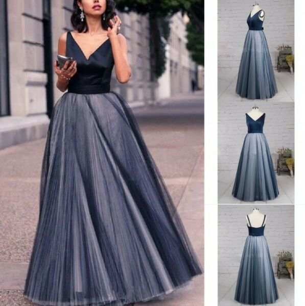 Womens Prom Cocktail Dress Formal Evening V Neck Long Bridesmaid Party Ball Gown