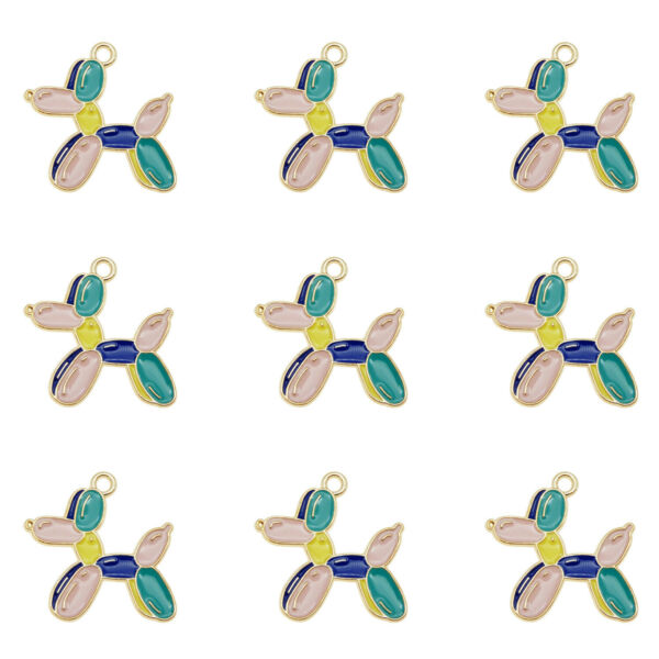 12Pcs Lot 27x26mm Colorful Alloy Enamel Balloon Dog Charms Pendant DIY Findings $3.75