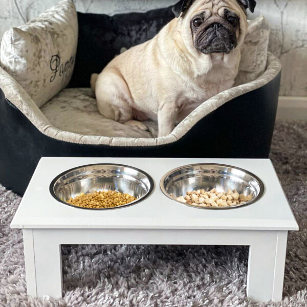 17quot; Elevated Raised Dog Feeder Stainless Steel Double Bowl Food Water Pet Dish $39.99