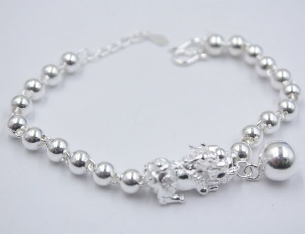 New Pure 925 Sterling Silver Bracelet Rich Pixiu with Bead Link Lucky Bracelet