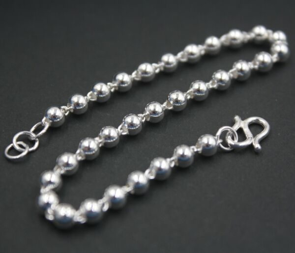 New Pure 925 Sterling Silver Bracelet 4mm Shiny Bead Link Bracelet For Women