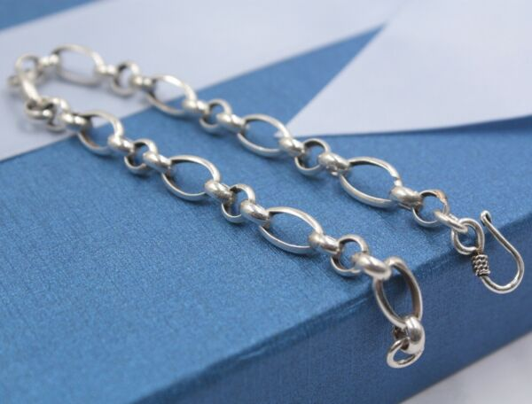 New Pure 925 Sterling Silver Bracelet 6.5mm Oval Rolo Link Bracelet 19cm