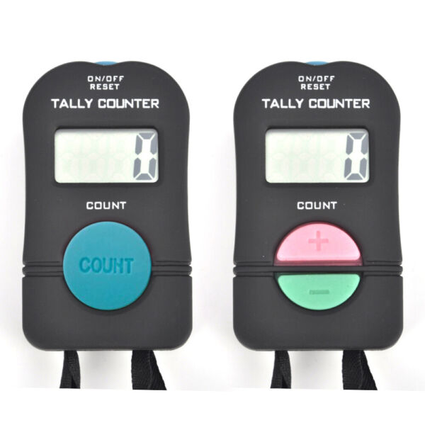 2 PCS Digital Tally Counter Electronic Hand Held Clicker Sports Manual Clicker