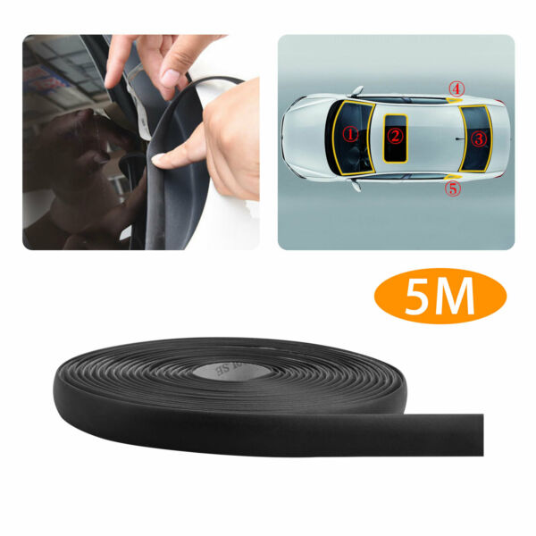5M 196quot; Waterproof Rubber Seal Weather Strip Trim for Car Front Rear Windshield $8.98