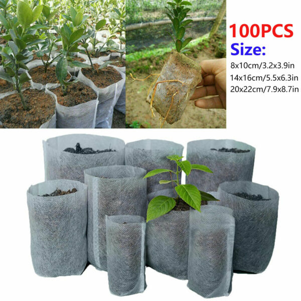 100 200pc Biodegradable Non woven Nursery Bags Plant Grow Seedling Planting Pots $8.48