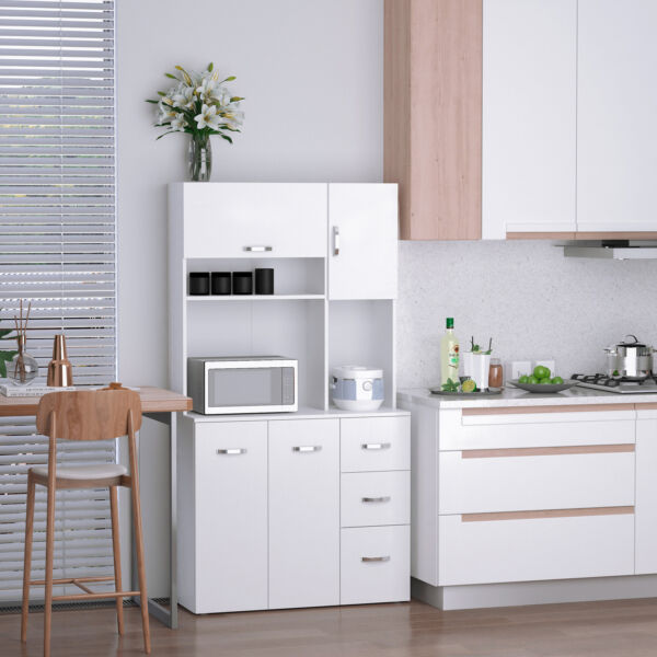 Freestanding Kitchen Pantry Cabinet Open Countertop with Doors DrawersShelves