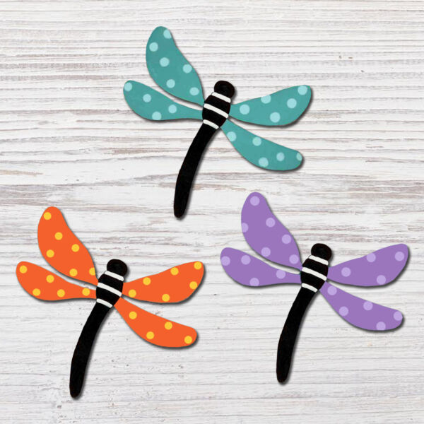 Roeda Brighten Life 4 Magnets Dragonfly with Dots Spring Embellish Story