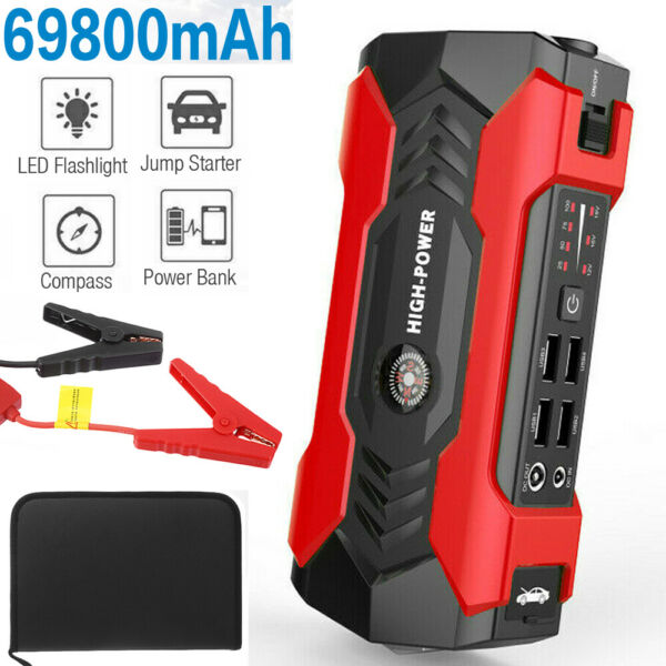 Portable Car Jump Starter 12V Auto Battery Booster Pack w USB Charger Power Bank $49.99