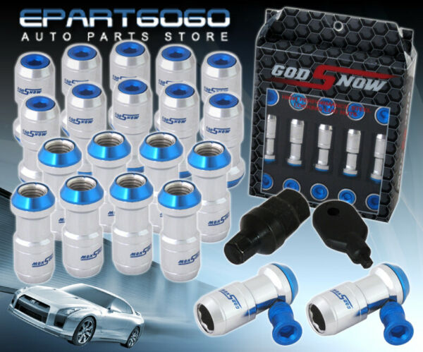 M12X1.5mm 20 Piece Silver Blue Tuner Jdm Vip Style Extended Long Lug Nuts Lock