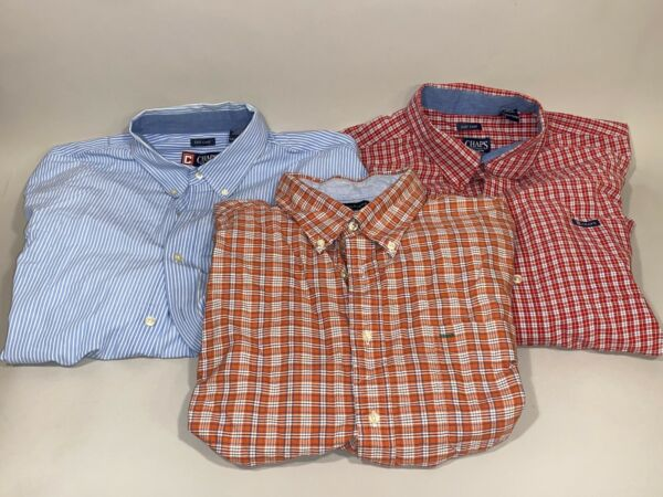 Lot of 3 Men#x27;s XXL Chaps Easy Care amp; Tommy Hilfiger Shirts Button Up Casual 2XL $26.99