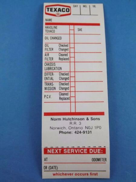 TEXACO OIL CHANGE CARD VINTAGE NORM HUTCHINSON GAS SERVICE STATION NORWICH ONT