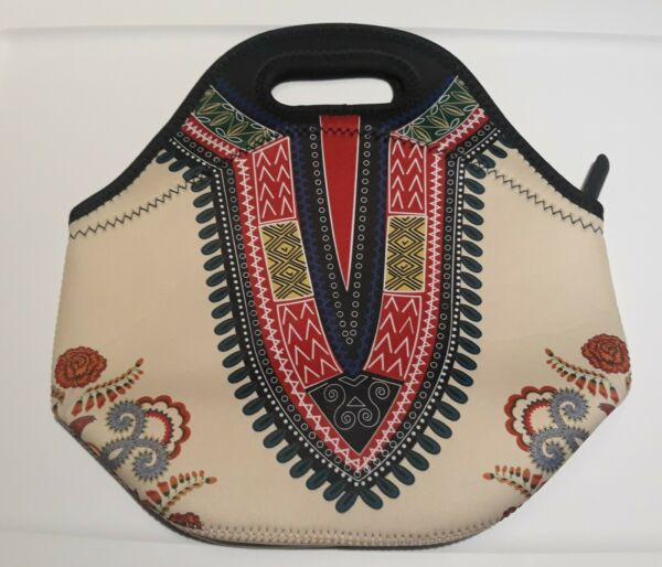 Soft Neoprene Lunch Bag Tote Decorative Tribal Pattern with zippered top