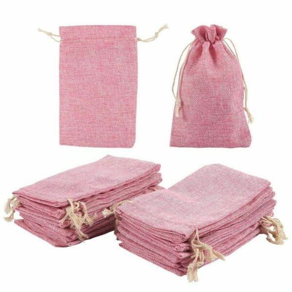 24 Pcs Burlap Gift Bags for Jewelry Candy Wedding Party Baby Showers Pink