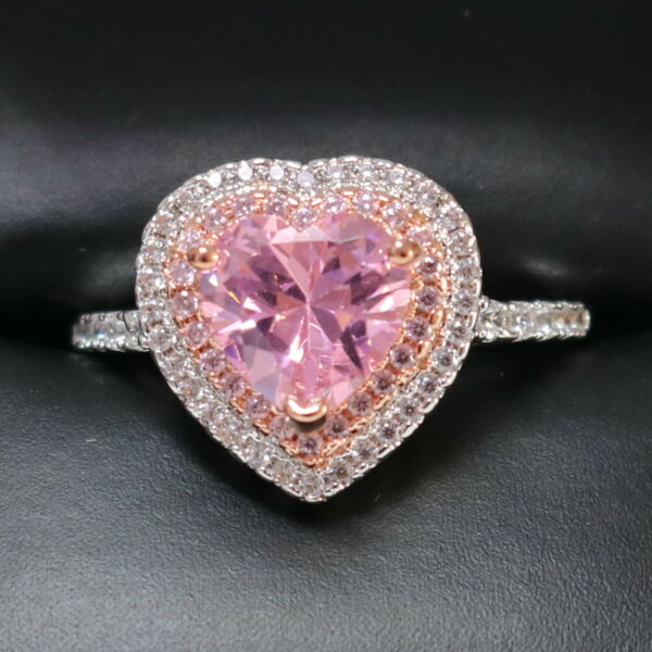 4 Ct Pink Sapphire Moissanite Halo Engagement Ring Sterling Silver Women Jewelry