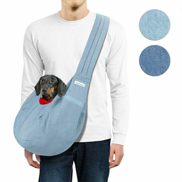 Stylish Dog Sling Carrier Breathable Denim Adjustable Padded Strap up to 11 lbs $19.99