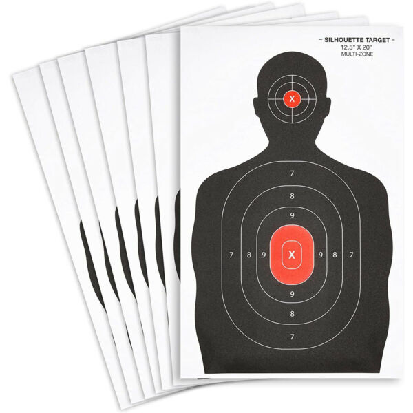50x Black amp; Red Person Hand Gun Rifle Shooting Targets Paper Silhouette 22quot;