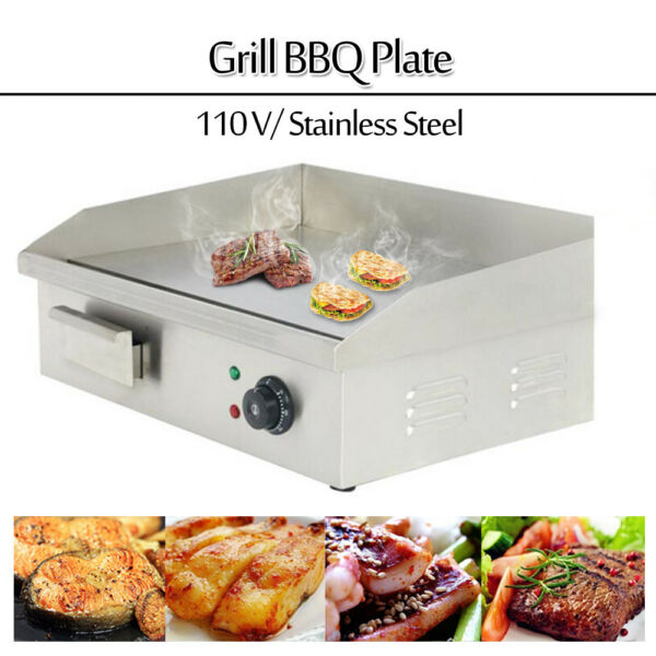 22quot; Stainless Steel Electric Countertop Griddle Flat Top Restaurant Grills BBQ A