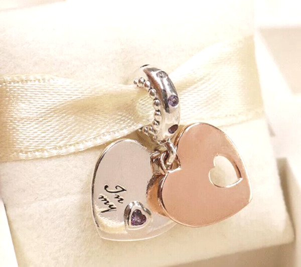 Authentic Pandora Rose Gold Part Of My Heart Dangle Charm 787235ALH