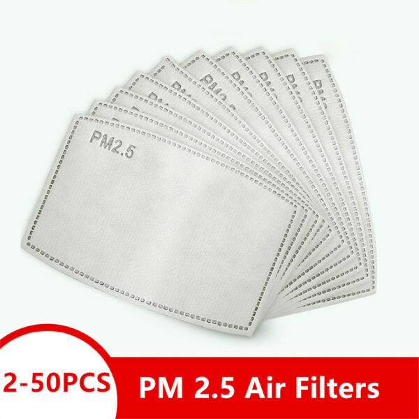 2 100 PCS Adult PM2.5 Activated Carbon 5 Layer Face Mask Replacement Filters US $30.00