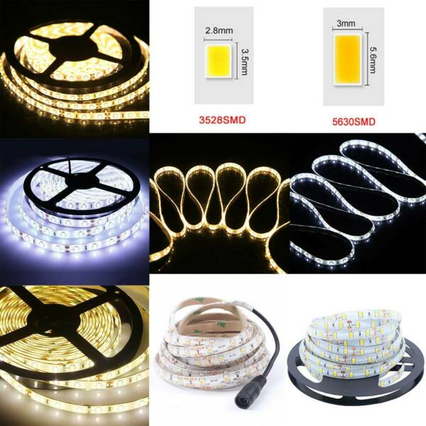 1m-10m 300 LED Strip Light 5630 3528 SMD Waterproof Flexible+Remote+Power Supply