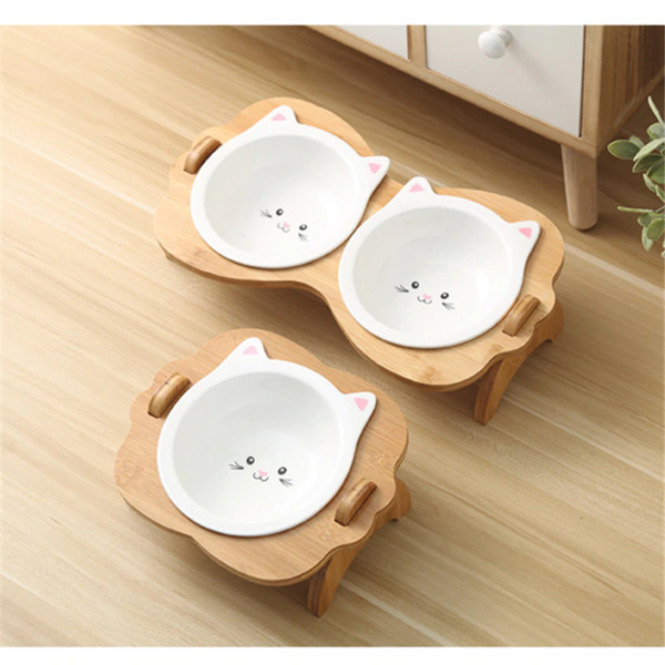 New Pets Double Bowl Dog Cat Food Water Dog Feeder Stand Raised Ceramic Dish Bow $73.12