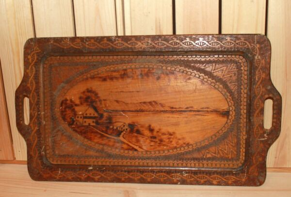 Antique floral hand made pyrography wood serving tray landscape