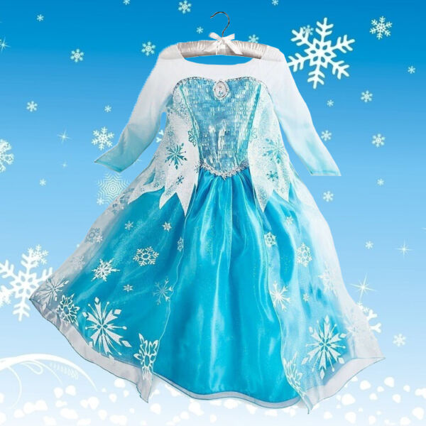 Disney Kids Girls Froen Elsa Queen ice princess Costume party Snow flake Dress $13.88