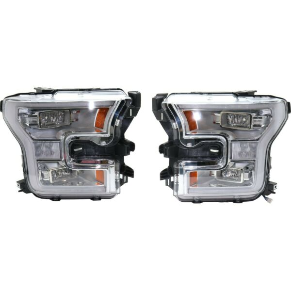 Headlight Set For 2015-2016 Ford F-150 Left and Right LED With Bulb 2Pc