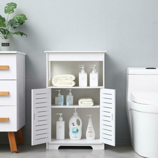 Bathroom Pantry Cabinet Tall Storage Organizer Wood Adjustable Shelf Furniture