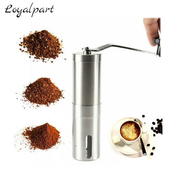 Stainless Steel Portable Manual Coffee Grinder With Ceramic Burr Bean Mill Beans