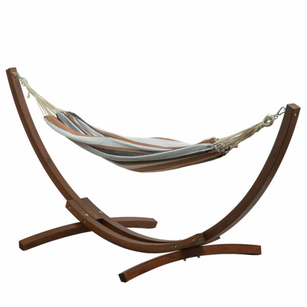 Double Cotton Hammock Bed W 10 ft Wooden Arc Outdoor Hammock Stand $169.99