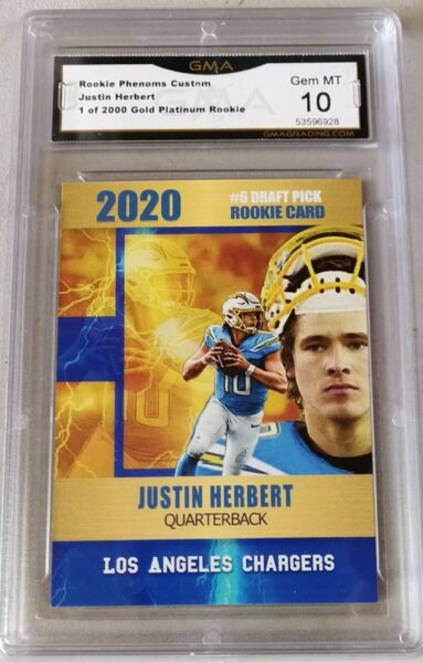 $100 JUSTIN HERBERT 2020 GOLD PLATINUM ROOKIE CARD GMA GRADED GEM MINT 10 CHARG.