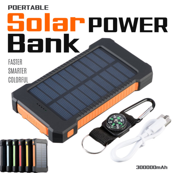 3000000mAh Solar Panel External Battery Charger Power Bank For Cell Phone Tablet