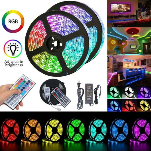 LED RGB Strip Light 1-30m 5050 SMD Waterproof Flexible 44Key Remote Power Supply