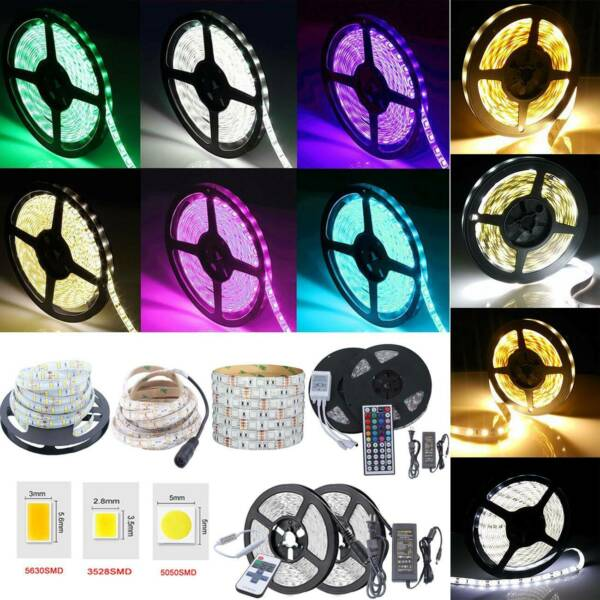 1M-20M Waterproof 300 LED Strip Light SMD 5050 3528 5630 12V Power Remote Supply
