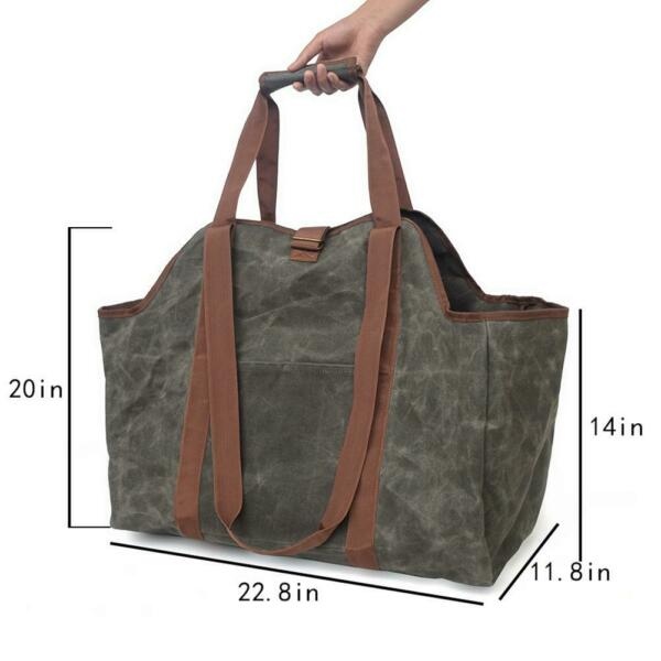 Waxed Canvas Log Carrier Tote Bag Extra Large Firewood Holder with Handles