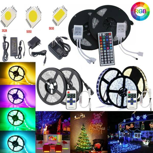 1M-20M SMD 3528 5630 5050 RGB Waterproof Led Strip Light+Remote+12V Power Supply