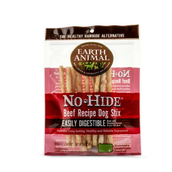 Earth Animal No Hide Wholesome Dog Chews Stix Beef Stix 10 per package $10.49