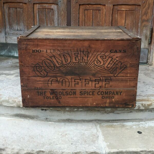 AntQ Golden Sun Coffee Large Wooden Shipping Crate Toledo OH WoolsonLion Coffee