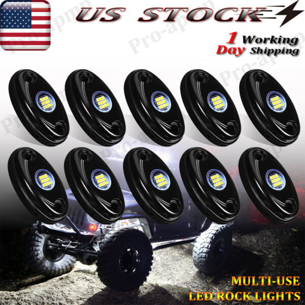 White 10Pods LED Rock Lights For Jeep Offroad Boat Truck UTV ATV Underbody Light