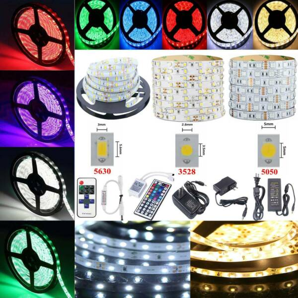 5M LED Strip Light 3528 5050 5630 SMD RGB Waterproof+Remote+12V Power Supply US