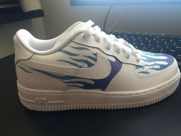 Custom Nike Air Force One 1 Low Top  Youth Boys Shoes Size 5.5 White