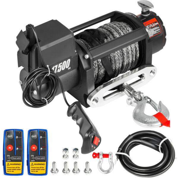 17500LBS Electric Winch Waterproof Truck Trailer 85FT Synthetic Rope Off Road $364.91