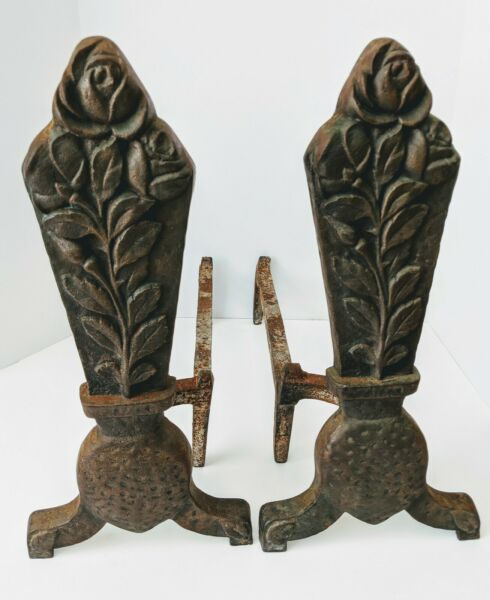 VINTAGE  ANTIQUE PAIR OF BRONZED CAST IRON FIREPLACE ANDIRONS POTTED ROSE #178