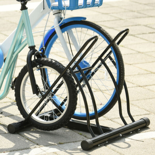 2 Rack Bicycle Floor Stand Bike Parking Garage Indoor and Outdoor $31.99