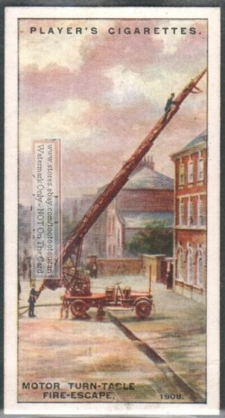 Motor Turn Table Fire Escape 1908 Fireman Equipment 85 Y O Trade Ad Card