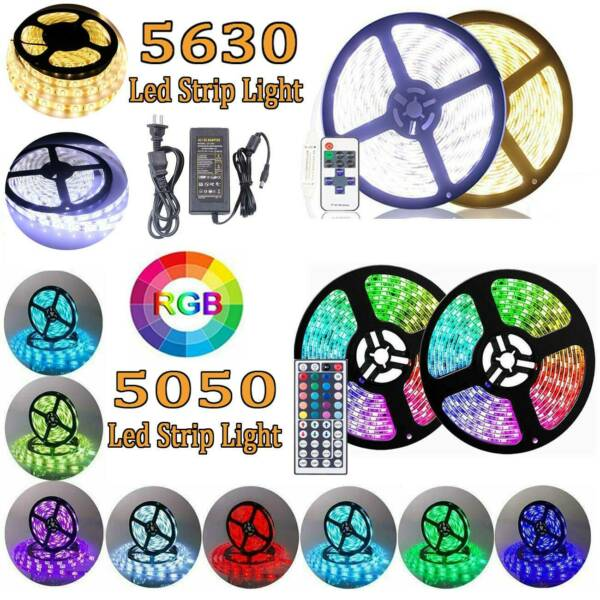 1M-10M 5630 5050 RGB SMD LED Strip Light Waterproof Flexible+Remote+Power Supply