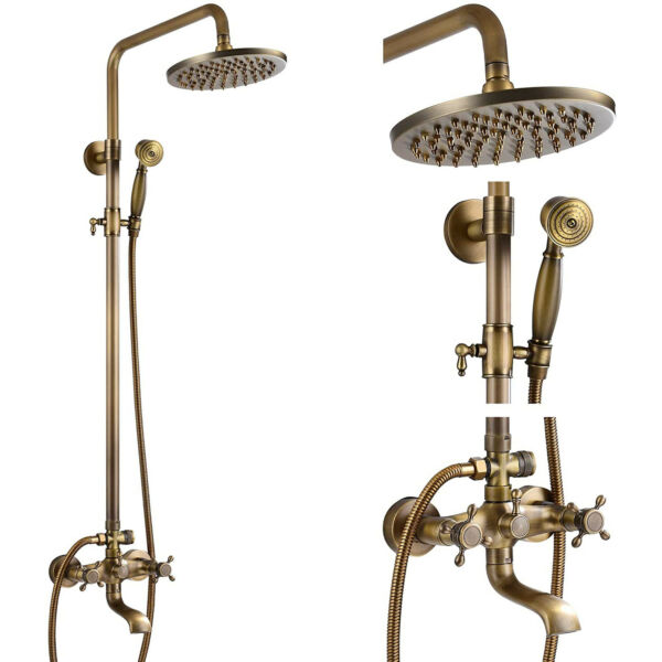 Wall Mounted Chrome Shower Faucet Set with Hand Shower and 8