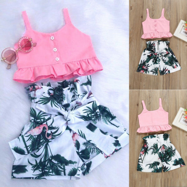 Newborn Infant Toddler Baby Girl Crop Top+Shorts Short Pants Summer Clothes Set