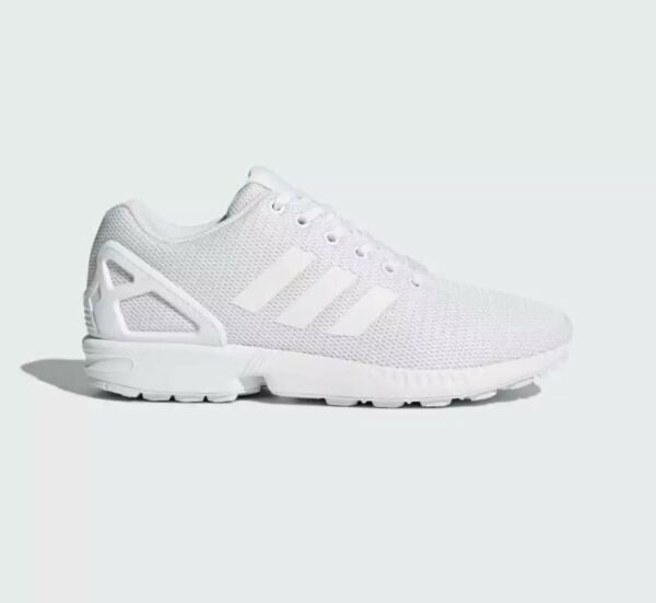 Adidas Originals ZX Flux Shoes Unisex Casual Trainers All White Sneakers Sz 10.5